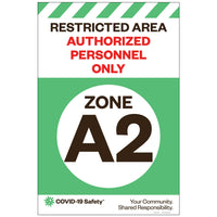 "Restricted Area Zone A2, for Sandwich Board (24""x36"")"