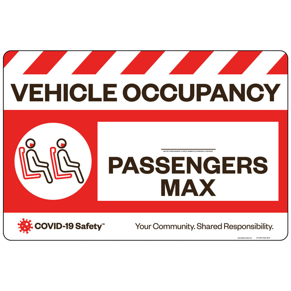 "Vehicle Occupancy Max Decal (18""x12"")"