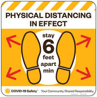 "Physical Distancing In Effect Floor Decal (12-22"" Square)"