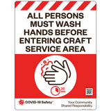 "All Persons Must Wash Hands Before Entering Craft Service Area (18""x24"")"