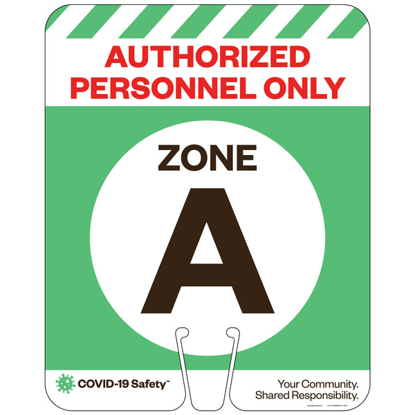 "Authorized Personnel Only, Zone A, for Traffic Cones (12""x15"")"