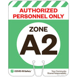"Authorized Personnel Only, Zone A2, for Traffic Cones (12""x15"")"
