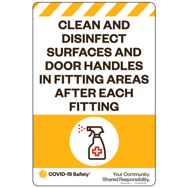 "Clean and Disinfect Surfaces and Door Handles in Fitting Areas (12""x18"")"