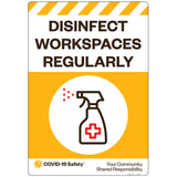 "Disinfect Workspaces Regularly (18""x26"")"