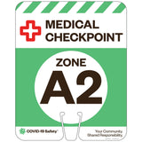 "Medical Checkpoint Zone A2, for Traffic Cones (12""x15"")"