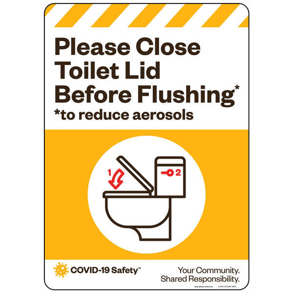 "Please Close Toilet Lid Before Flushing (10""x14"")"