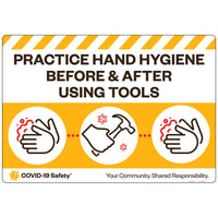 "Practice Hand Hygiene Before and After Using Tools (26""x18"")"
