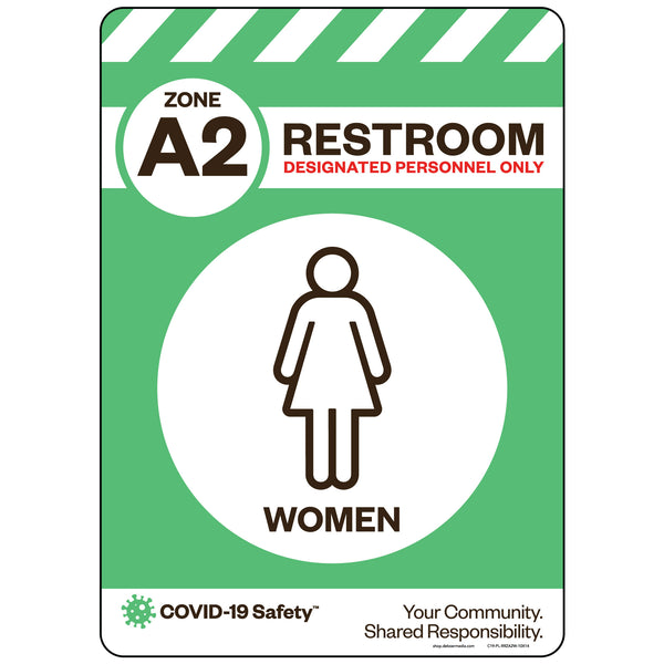 "Zone A2 Only Restroom, Women (10""x14"")"