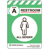 "Zone A Only Restroom, All Gender (10""x14"")"