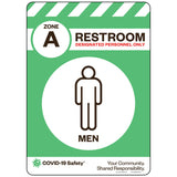 "Zone A Only Restroom, Men (10""x14"")"