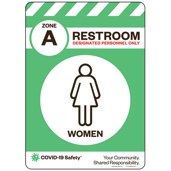 "Zone A Only Restroom, Women (10""x14"")"