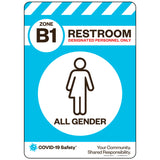 "Zone B1 Only Restroom, All Gender (10""x14"")"