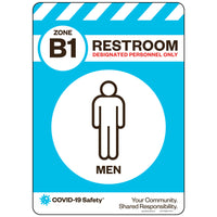 "Zone B1 Only Restroom, Men (10""x14"")"