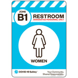 "Zone B1 Only Restroom, Women (10""x14"")"
