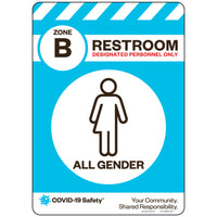 "Zone B Only Restroom, All Gender (10""x14"")"