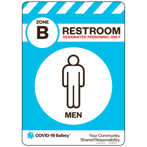 "Zone B Only Restroom, Men (10""x14"")"