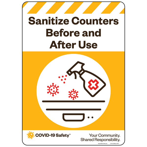 "Sanitize Counters Before and After Use (10""x14"")"