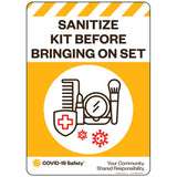 "Sanitize Kit Before Bringing On Set (HMU) (10""x14"")"