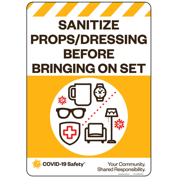 "Sanitize Props/Dressing Before Bringing On Set (10""x14"")"