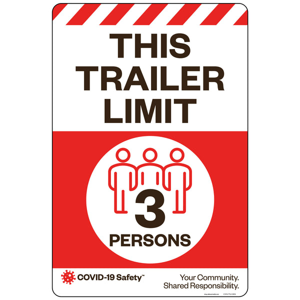 "This Trailer Limit 3 Persons (12""x18"")"