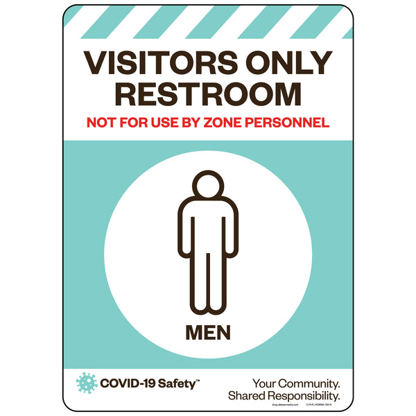"Visitors Only Restroom, Men (10""x14"")"