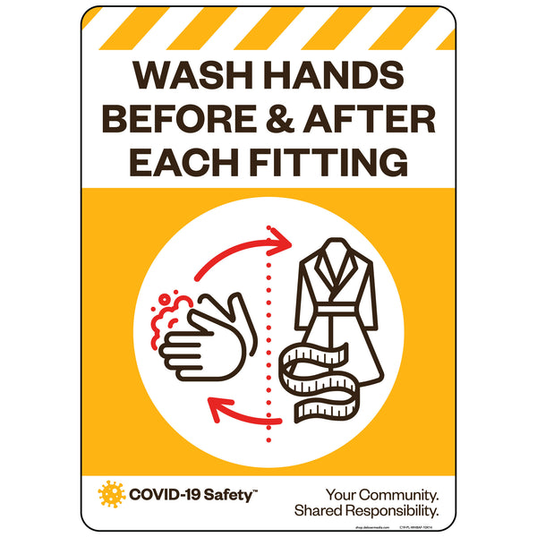 "Wash Hands Before & After Each Fitting (10""x14"")"