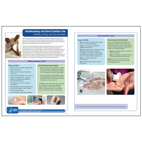 "CDC Poster: Handwashing & Sanitizer (24""x18.5"")"