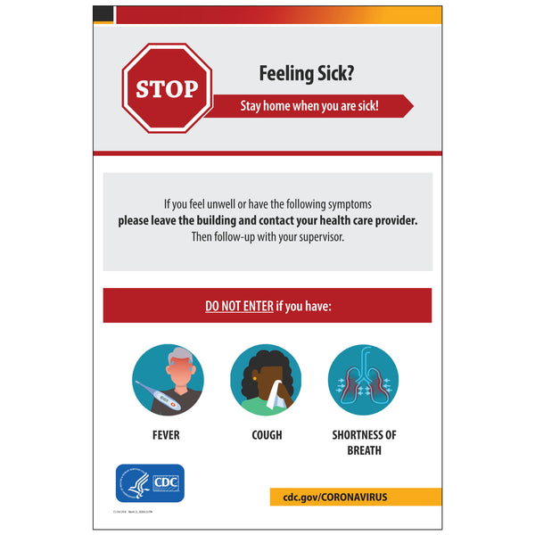 "CDC Poster: Feeling Sick? (24""x36"")"