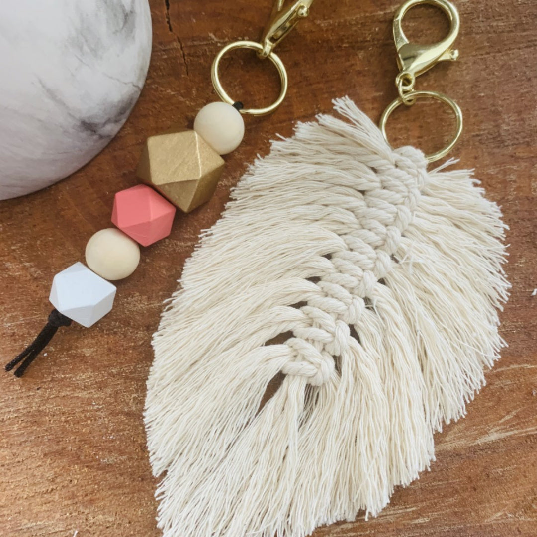 2 Style DIY Keychain Kit | Macrame Feather Keychain and Hexagon Bead Keychain