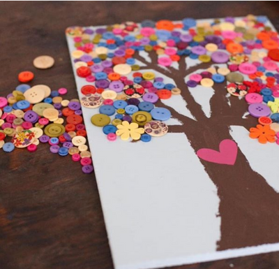 Wood Canvas-Tree with Buttons