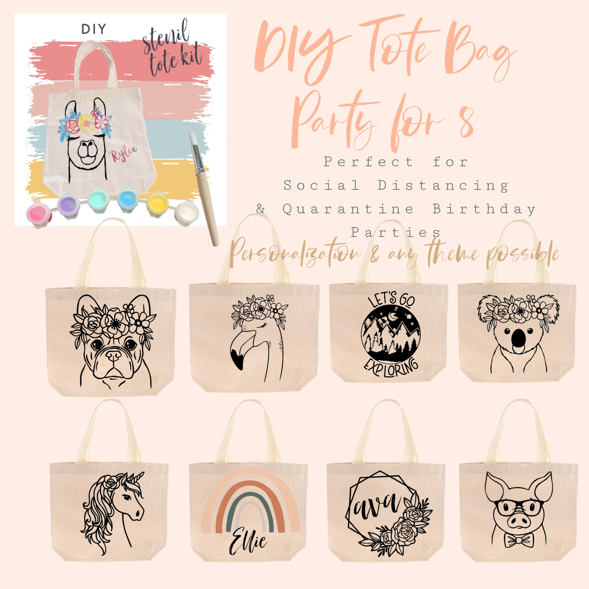 Party in a Box | DIY Kit | Tote Bag Party for 8