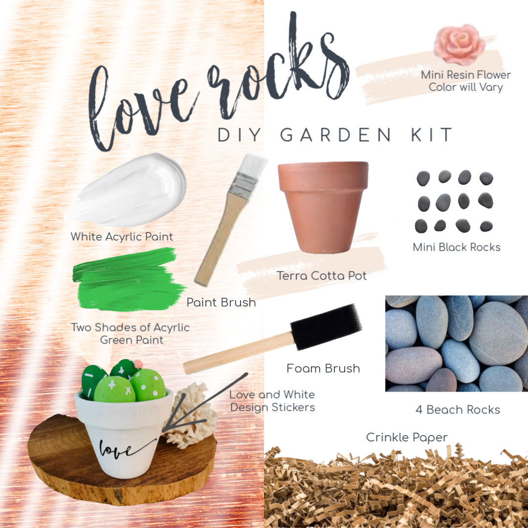 Love Rocks Cactus Kit, Rock Painting, DIY Craft, Kids Craft,