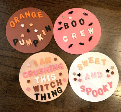 DIY Round Wooden Halloween Sign Kit | Set for 4