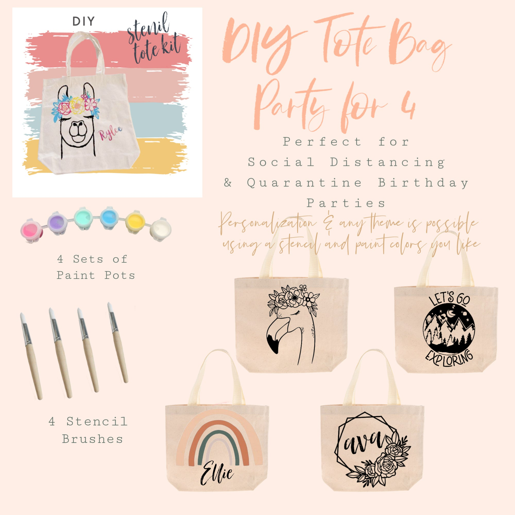 Party in a Box | DIY Kit | Tote Bag Party for 4