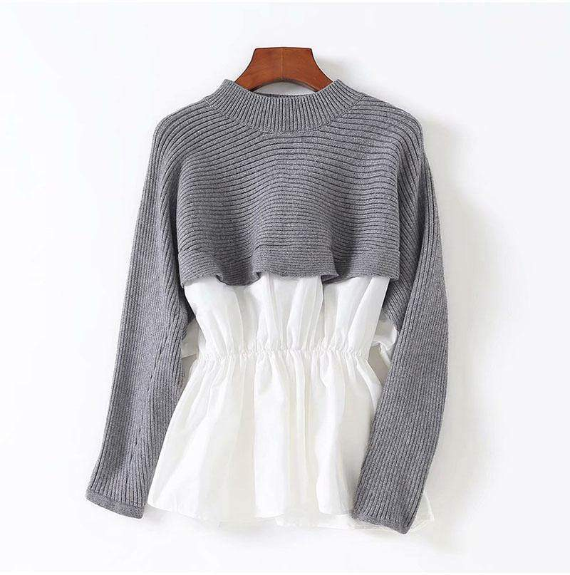 Autumn Knit Fake Two Pieces O-neck Long Sleeve Sweaters - Shop women fashion clothing, Fragrances & skin, perfumes, shoes & accessories online !