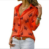 Butterfly Printing Loose Lapel Blouse