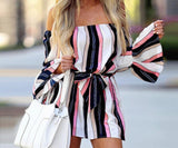 Butterfly Sleeve Off Shoulder Bandage Stripe Jumpsuit For Women - Shop women fashion clothing, Fragrances & skin, perfumes, shoes & accessories online !