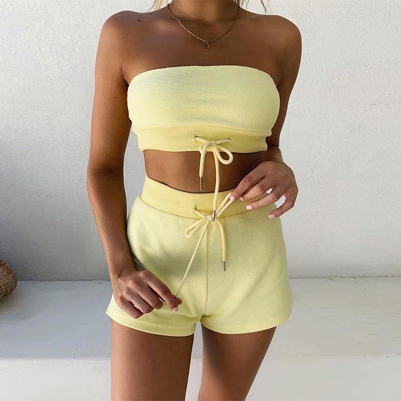Drawstring Strapless Crop Top And Shorts Jogging Outfits - Shop women fashion clothing, Fragrances & skin, perfumes, shoes & accessories online !