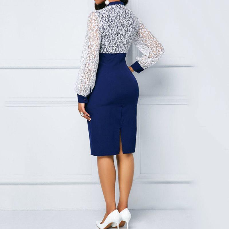 Elegant Blue Lace Puff Sleeve Dress For Women - Shop women fashion clothing, Fragrances & skin, perfumes, shoes & accessories online !