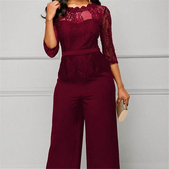 Elegant Half Lace Sleeve Party Jumpsuit For Women - Shop women fashion clothing, Fragrances & skin, perfumes, shoes & accessories online !