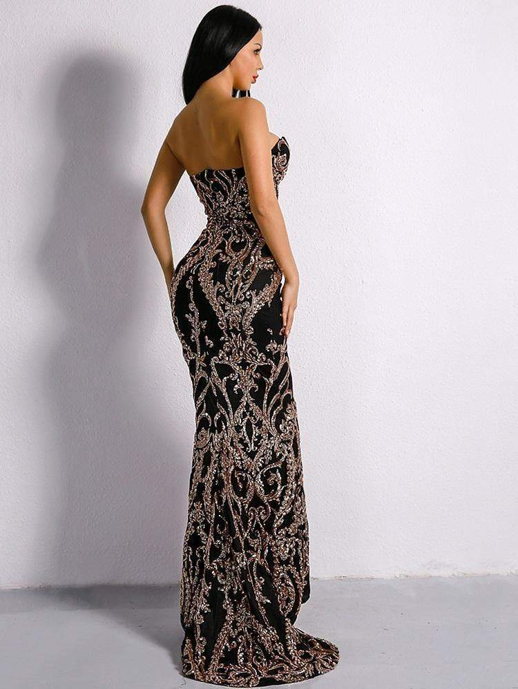 Evelyn Belluci Black Embellished Sequin Gown - Shop women fashion clothing, Fragrances & skin, perfumes, shoes & accessories online !