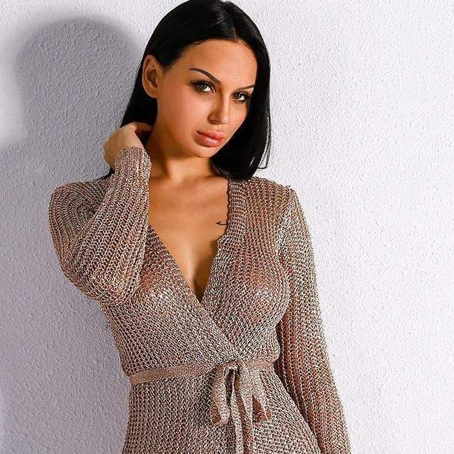 Evelyn Belluci Rose Gold Sweater Dress - Shop women fashion clothing, Fragrances & skin, perfumes, shoes & accessories online !