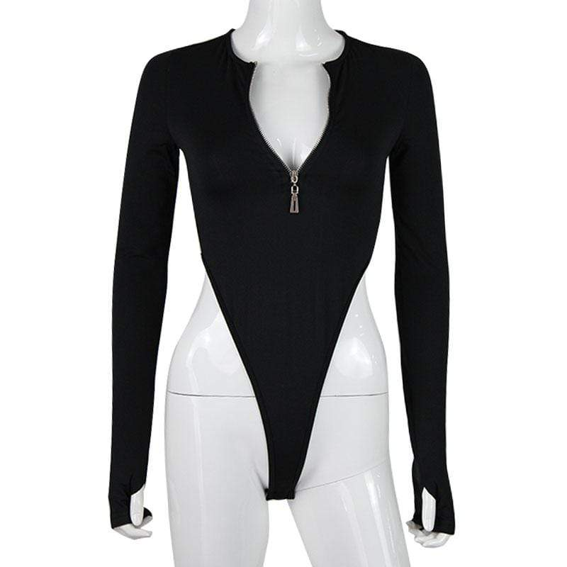 Fashion Solid Zipper Long Sleeve Rompers Bodysuits