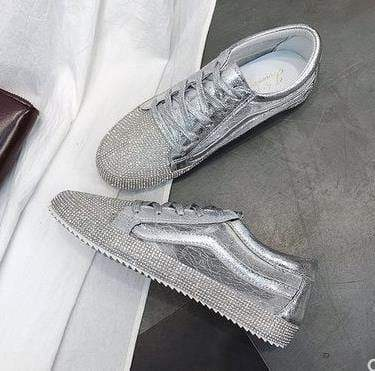 Flat Rhinestone Bling Casual Sneakers - Shop women fashion clothing, Fragrances & skin, perfumes, shoes & accessories online !