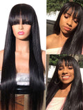 Human Hair Wigs with Bangs Bone