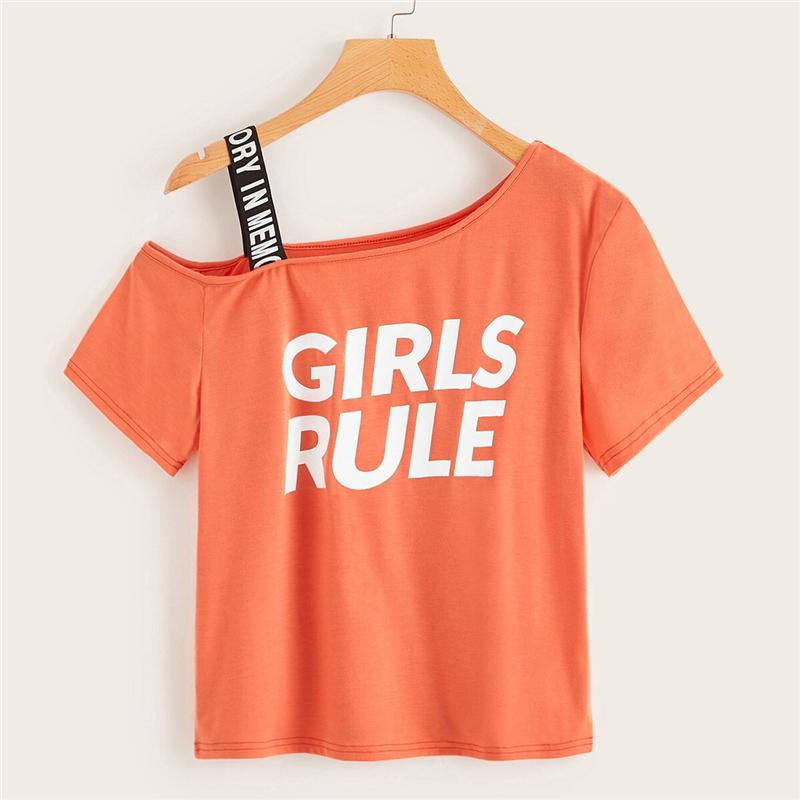 Orange Letter Print Open Shoulder Tee for Women - Shop women fashion clothing, Fragrances & skin, perfumes, shoes & accessories online !