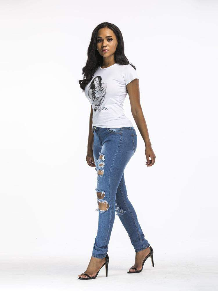 Ripped Distressed Slim Jeans For Women - Shop women fashion clothing, Fragrances & skin, perfumes, shoes & accessories online !