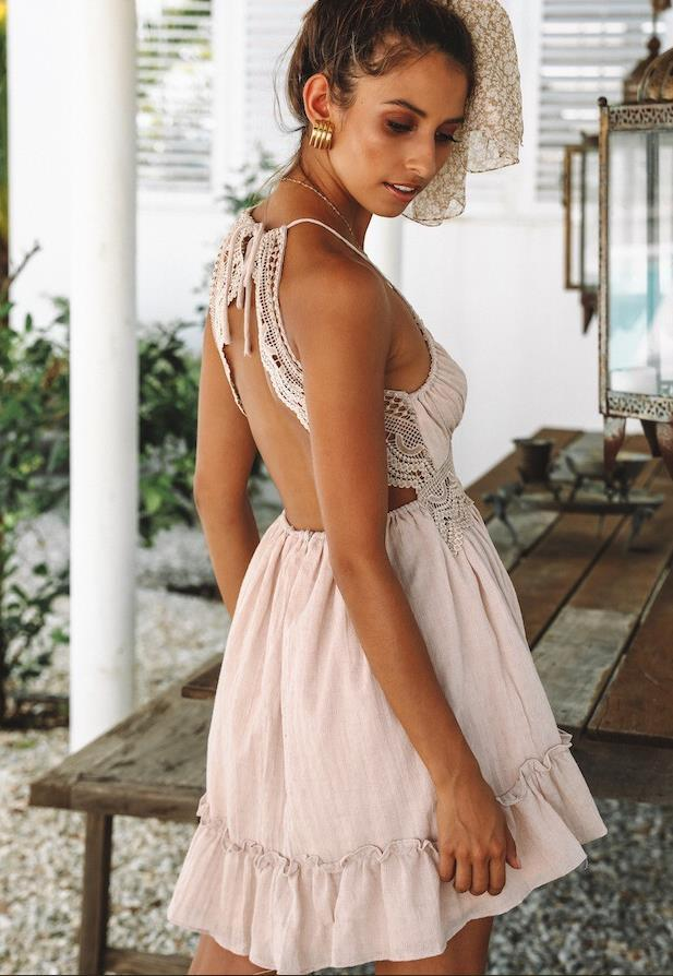 Sexy Backless Lace Slip Dress