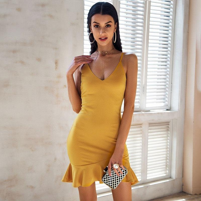 Sexy V Neck Ruffle Strap Mini Dress Women Skinny yellow mermaid dress 2018 Summer dress bodycon party vestido - Shop women fashion clothing, Fragrances & skin, perfumes, shoes & accessories o