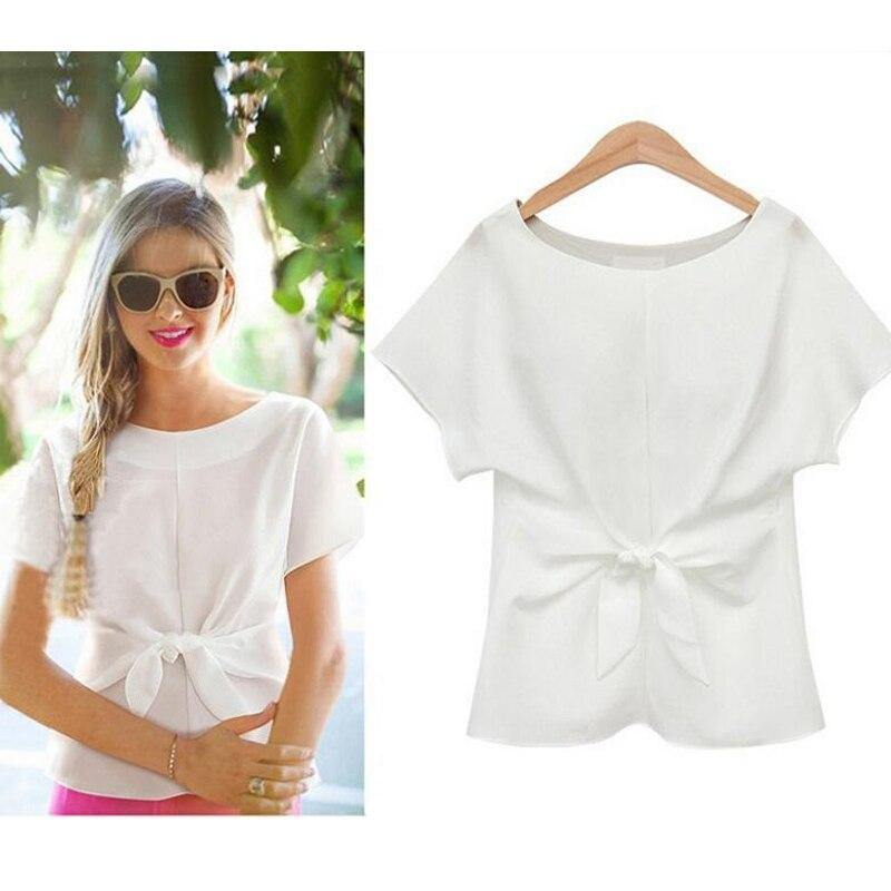 Short Sleeve O-neck Front Bow Tie Top For Women - Shop women fashion clothing, Fragrances & skin, perfumes, shoes & accessories online !